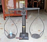 Rare 39 Tall Antique Balance Gold Scale Dated 1874 Signed Jws Brass And Cast Iron