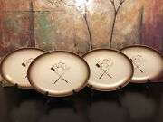 4 Vintage Embassy Restaurant Ware Grill Chef Bbq Oval Dinner Plate Airbrush 13