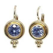 Blue Tanzanite Earring 18k Yellow Gold Natural Lever Back