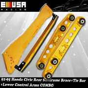 Rear Lower Control Arm+tie Bar+subframe Bar Gold For 92-95 Civic 93-97del Sol