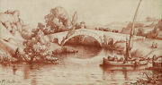 Old Master Drawing Italian French Sanguine Landscape View Italy Deck Roman River