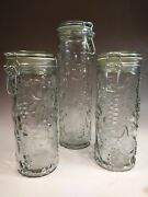 Collectible Very Lt. Sage Green Glass Apothecary Jar W/wired Lid Embossed Fruit