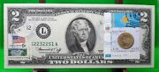 Us 2 Dollars 1976 Frn First Day Stamp Cancel Coin And Flag Of Kazakhstan Rare