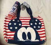 Disney Store New Mickey Americana Foldable Cotton Tote Bag And Water Bottle