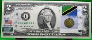 Us 2 Dollars 2013 Frn Coin And Flag Of Tanzania Lucky Money Value 125