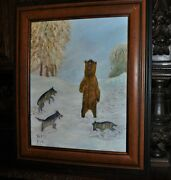 Americana Fantastic Vintage Grizzly Vs.wolves Drama Oil Painting