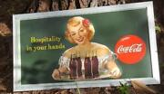 1949 Vintage Green Coca Cola Hospitality In Your Hands Framed Sign 3and039 X 1and039 8