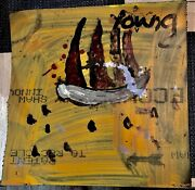 Purvis Young Unique Art Sailboat Colorful On Rubber Yellow Red Beautiful Piece