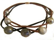 New Tahitian Pearls Multi-strand Necklace-brown/black Suede Cords-magnetic Clasp