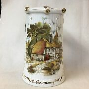 German Puzzle Jug W/ Cottage, Fox And Nude Lithophane To My Foxy Sister Germany