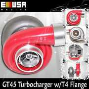 Red Emusa Gt45 Turbo/turbocharger 600hp+ Boost Universal T4/t66 3.5 V-band 1.05