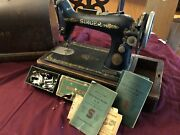 1915 Singer Sewing Machine No.99 On Wooden Base, Cover, Manuals And Attachments