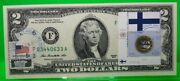 Us 2 Dollars 2013 Stamp Cancel Flag And Coin Of Finland Lucky Money 125