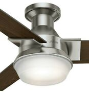 52 Sleek Modern Retro Brushed Nickel Led Ceiling Fan Light 3 Blade Low Profile