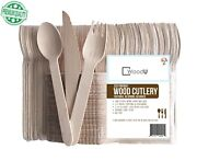 Disposable Wooden Cutlery Set Utensils Rustic Wedding Fork Spoon Knives New