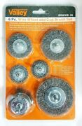 6pc Wire Brush Set 1/4 Shank Power Drill Wheel Cup Deburr Crimped Remove Paint