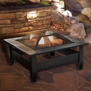 Outdoor Fire Pit Square Tile Cover Screen Patio Wood Burning Heater Steel Bowl