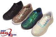 Woman Metallic Glitter Lace Up Shoes Rhinestone Athletic Sneaker Ankle Booties