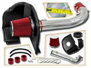 Cold Heat Shield Air Intake + Red Filter For 15-19 Escalade / Esv 6.2l V8