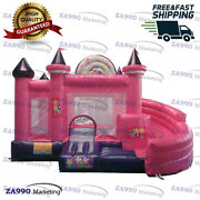 15x13ft Inflatable Princess Bouncy House Castle Bouncer And Slide With Air Blower