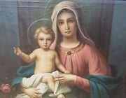 Large Fine Antique Renaissance Style Oil Painting Madonna And Child 19th Century