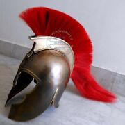 Greek Troy Achilles Trojan Medieval Helmet Armor With Red Plume Halloween Gifts