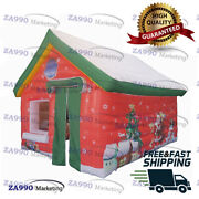Inflatable Christmas Snow House Santa Claus Grotto Tent With Air Blower 16x13ft