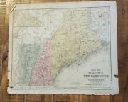 Antique Hand Colored Map Of Maine, N.h. And Vermont Common School Geography 1873