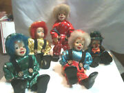 Clown 5 Porcelain Vintage Collectible Dolls 7 Tall