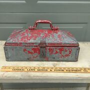 Antique Mechanicand039s Toolbox - Red Paint Galvanized Steel W/ Great Vintage Patina