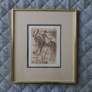 Salvador Dali Limited Edition Etching Don Quixote Midcentury Modern 1966