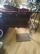 Early Louisiana French Antique Hand Wrought Iron Sign And Bracket Barber Shopandnbsp