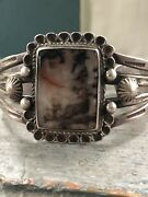 Old 40andrsquos Vintage Navajo Andldquopetrified Woodandrdquo Sterling Silver Cuff Bracelet Unsigned.