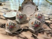 4 Vintage Dresden By Mikado China Cup's And Saucers Made In Occupied Japan