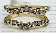 14k Yellow Gold Champagne Chocolate Diamonds Solitaire Enhancer Ring Guard Wrap