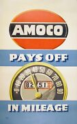 Original Vintage Poster Amoco Pays Off In Mileage By Lucian Bernhard 50s Auto