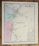 Antique Map - Bar Mills And Salmon Falls, Maine - / Atlas York County, Me - 1872