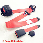 Universal 3 Point Retractable Car Safety Seat Belts Lap With Curved Rigid Buckle