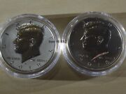 2018 S Silver Kennedy 2 Coins Two Reverse Proof And Error / Variety In Finish