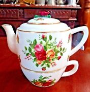 Royal Albert Old Country Roses Individual Teapot And Lid W Cup Rose Finial H 6