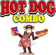 Hot Dog Combo Decal Choose Your Size Monkey Concession Food Truck Sticker