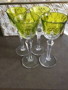 Baccarat Vintage Austerlitz Greenchartreuse Cut To Clear Rhine Wine Glasses4