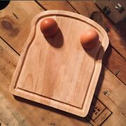 Breakfast Board Toast Serving Lap Tray With Egg Holder Wooden Cheese Board New