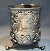 Rare Antique American Coin Silver Large Beaker By A. Rumrill And Co. Circa 1850s