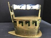 Ant19 Th C. Clothes Press Solid Brass / Bronze Hand Paint Pottery Hold Handle