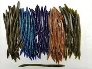 50 Pk - 6 Finesse Worms - 5 Colors/10 Each - Salt And Scent - Bulk-bass Lures-usa