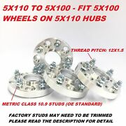 4pc Hub Centric Wheel Adapters Spacers 5x110 To 5x100 12x1.5 ¦ 20mm Near 13/16