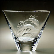 Faberge Work Master Large Crystal Dolphin Vase Hand Engraved 25 Of 100