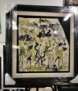 Purvis Young Original Artwork Horses Colorful Unique One Of A Kind Framed