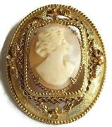 Brooch Carved Shell Lady Cameo Brooch Signed Geno For Richelieu Austria Vintage
